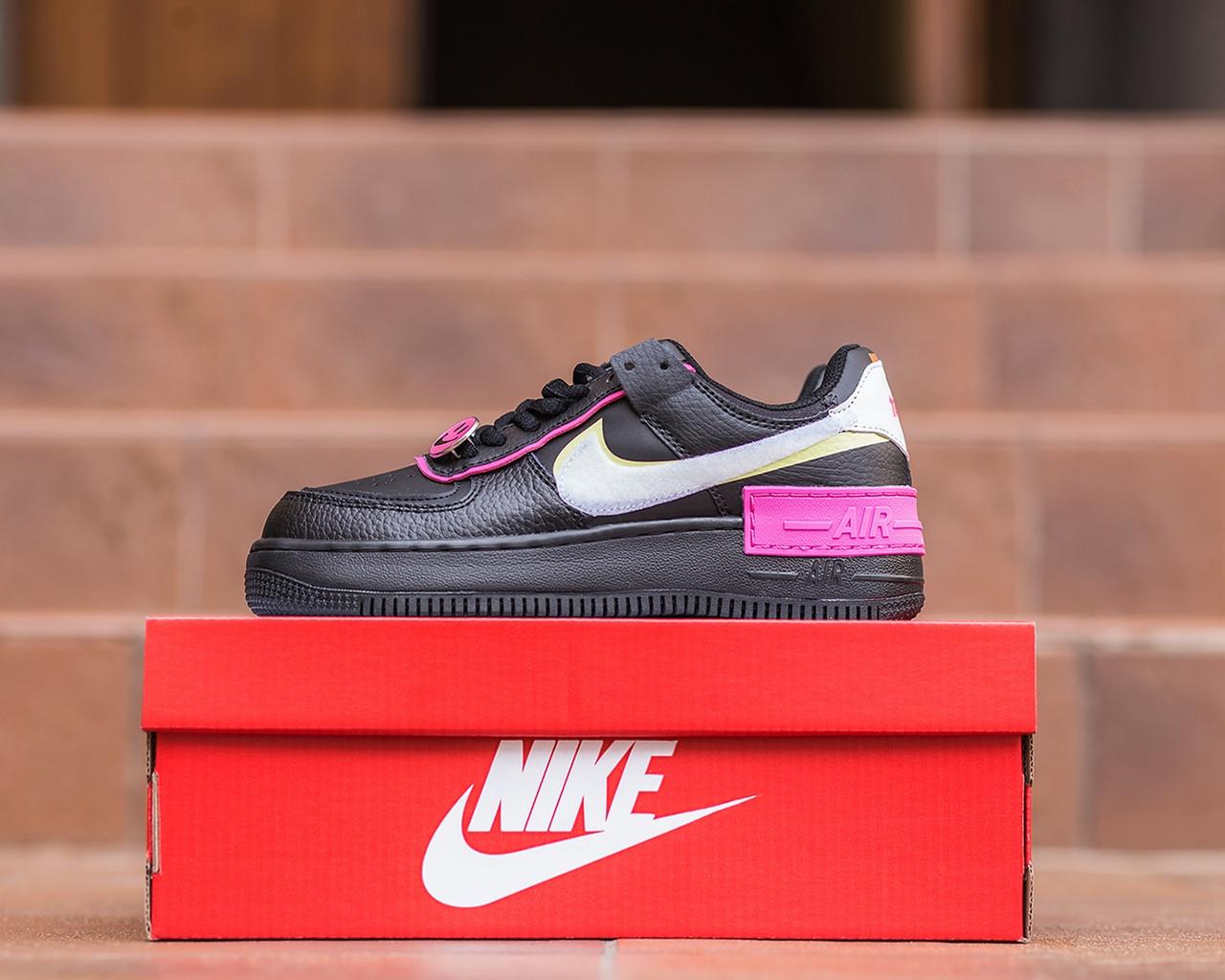 Nike Air Force  1 Shadow Removable Женские осенние черные кожаные кроссовки. Женские кроссовки на шнурках