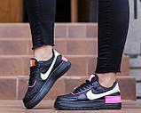 Nike Air Force  1 Shadow Removable Женские осенние черные кожаные кроссовки. Женские кроссовки на шнурках, фото 2