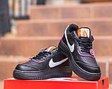 Nike Air Force  1 Shadow Removable Женские осенние черные кожаные кроссовки. Женские кроссовки на шнурках, фото 3