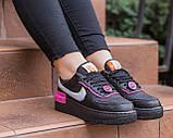 Nike Air Force  1 Shadow Removable Женские осенние черные кожаные кроссовки. Женские кроссовки на шнурках, фото 6