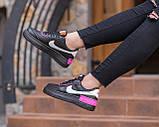 Nike Air Force  1 Shadow Removable Женские осенние черные кожаные кроссовки. Женские кроссовки на шнурках, фото 8