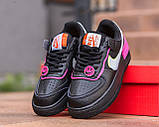 Nike Air Force  1 Shadow Removable Женские осенние черные кожаные кроссовки. Женские кроссовки на шнурках, фото 9