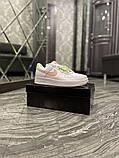 Nike Air Force Женские осенние белые кожаные кроссовки. Женские кроссовки на шнурках, фото 5