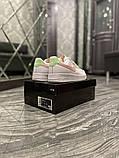 Nike Air Force Женские осенние белые кожаные кроссовки. Женские кроссовки на шнурках, фото 6