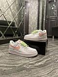 Nike Air Force Женские осенние белые кожаные кроссовки. Женские кроссовки на шнурках, фото 7