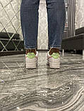 Nike Air Force Женские осенние белые кожаные кроссовки. Женские кроссовки на шнурках, фото 8