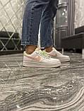 Nike Air Force Женские осенние белые кожаные кроссовки. Женские кроссовки на шнурках, фото 9