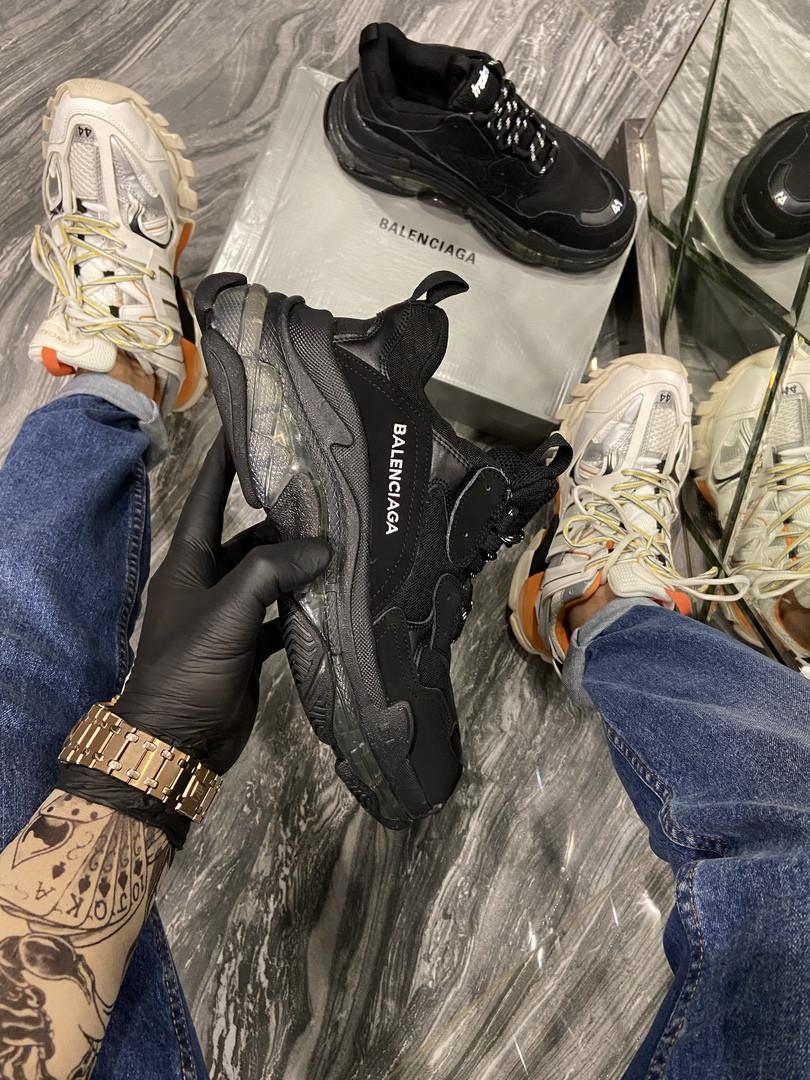 Balenciaga Triple S Женские осенние черные текстильные кроссовки. Женские кроссовки на шнурках