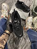Balenciaga Triple S Женские осенние черные текстильные кроссовки. Женские кроссовки на шнурках, фото 3