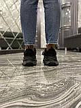 Balenciaga Triple S Женские осенние черные текстильные кроссовки. Женские кроссовки на шнурках, фото 4