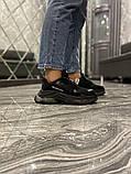 Balenciaga Triple S Женские осенние черные текстильные кроссовки. Женские кроссовки на шнурках, фото 5