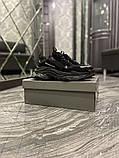 Balenciaga Triple S Женские осенние черные текстильные кроссовки. Женские кроссовки на шнурках, фото 7
