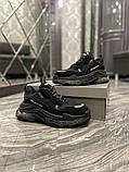 Balenciaga Triple S Женские осенние черные текстильные кроссовки. Женские кроссовки на шнурках, фото 8