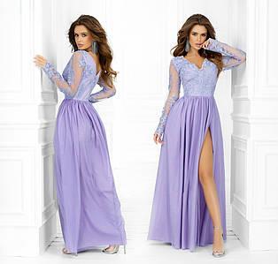 """Вечірній жіноче плаття """"Сітка Кльош Максі Розріз Ліф Вишивка"""" у кольорах (291-7339)"""