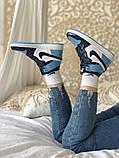 Air Jordan 1 Retro Женские осенние голубые кожаные кроссовки. Женские кроссовки на шнурках, фото 2