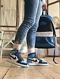 Air Jordan 1 Retro Женские осенние голубые кожаные кроссовки. Женские кроссовки на шнурках, фото 4