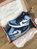 Air Jordan 1 Retro Женские осенние голубые кожаные кроссовки. Женские кроссовки на шнурках, фото 5