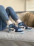 Air Jordan 1 Retro Женские осенние голубые кожаные кроссовки. Женские кроссовки на шнурках, фото 6