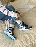 Air Jordan 1 Retro Женские осенние голубые кожаные кроссовки. Женские кроссовки на шнурках, фото 7