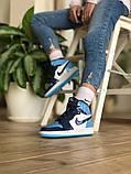 Air Jordan 1 Retro Женские осенние голубые кожаные кроссовки. Женские кроссовки на шнурках, фото 8