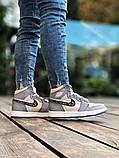 Air Jordan Dior Женские осенние серые кожаные кроссовки. Женские кроссовки на шнурках, фото 4