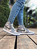 Air Jordan Dior Женские осенние серые кожаные кроссовки. Женские кроссовки на шнурках, фото 5