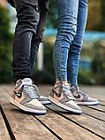 Air Jordan Dior Женские осенние серые кожаные кроссовки. Женские кроссовки на шнурках, фото 6