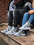 Air Jordan Dior Женские осенние серые кожаные кроссовки. Женские кроссовки на шнурках, фото 8