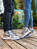 Air Jordan Dior Женские осенние серые кожаные кроссовки. Женские кроссовки на шнурках, фото 9