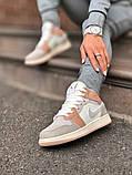 Air Jordan 1 Retro Mid Milan  Женские осенние бежевые кожаные кроссовки. Женские кроссовки на шнурках, фото 7