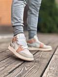 Air Jordan 1 Retro Mid Milan  Женские осенние бежевые кожаные кроссовки. Женские кроссовки на шнурках, фото 8