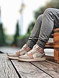Air Jordan 1 Retro Mid Milan  Женские осенние бежевые кожаные кроссовки. Женские кроссовки на шнурках, фото 9