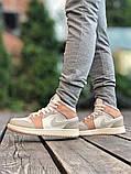 Air Jordan 1 Retro Mid Milan  Женские осенние бежевые кожаные кроссовки. Женские кроссовки на шнурках, фото 10