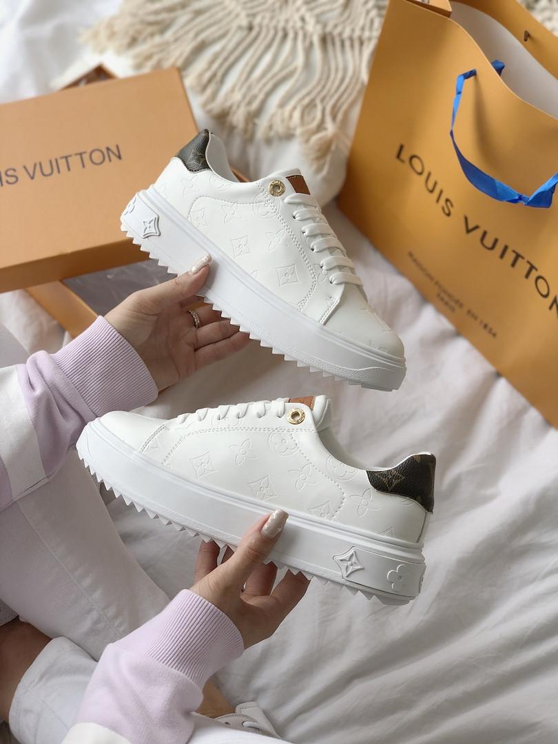 TIME OUT LV ESCALE  Женские осенние белые кожаные кроссовки. Женские кроссовки на шнурках