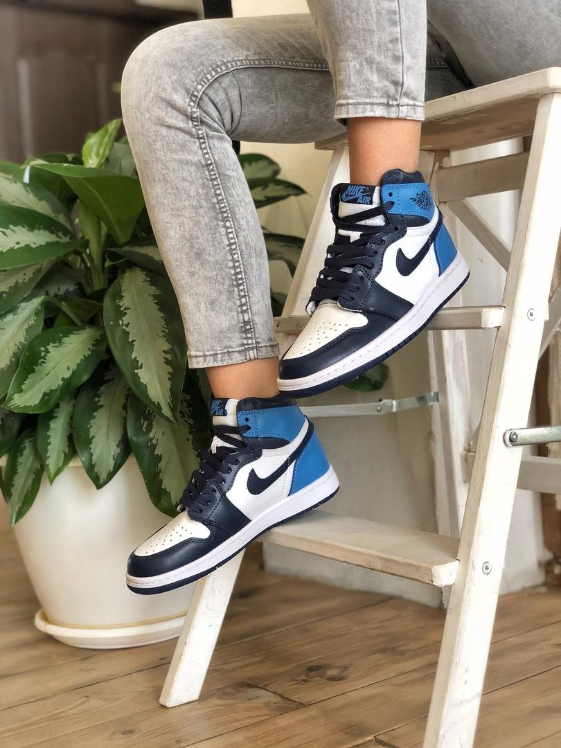 Air Jordan 1 Retro Женские осенние синие кожаные кроссовки. Женские кроссовки на шнурках