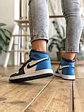Air Jordan 1 Retro Женские осенние синие кожаные кроссовки. Женские кроссовки на шнурках, фото 2