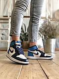 Air Jordan 1 Retro Женские осенние синие кожаные кроссовки. Женские кроссовки на шнурках, фото 3