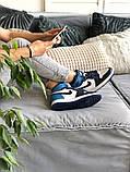 Air Jordan 1 Retro Женские осенние синие кожаные кроссовки. Женские кроссовки на шнурках, фото 5