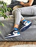 Air Jordan 1 Retro Женские осенние синие кожаные кроссовки. Женские кроссовки на шнурках, фото 6