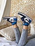 Air Jordan 1 Retro Женские осенние синие кожаные кроссовки. Женские кроссовки на шнурках, фото 7