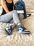Air Jordan 1 Retro Женские осенние синие кожаные кроссовки. Женские кроссовки на шнурках, фото 8