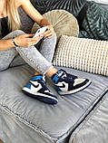 Air Jordan 1 Retro Женские осенние синие кожаные кроссовки. Женские кроссовки на шнурках, фото 10
