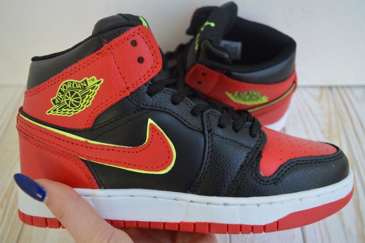 Nike Air Jordan Женские осенние красные кожаные кроссовки. Женские кроссовки на шнурках