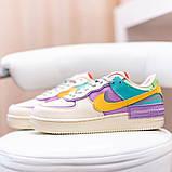 Nike Air Force 1 Shadow  Женские осенние бежевые кожаные кроссовки. Женские кроссовки на шнурках, фото 2