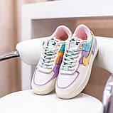Nike Air Force 1 Shadow  Женские осенние бежевые кожаные кроссовки. Женские кроссовки на шнурках, фото 4