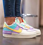 Nike Air Force 1 Shadow  Женские осенние бежевые кожаные кроссовки. Женские кроссовки на шнурках, фото 6