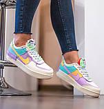 Nike Air Force 1 Shadow  Женские осенние бежевые кожаные кроссовки. Женские кроссовки на шнурках, фото 7