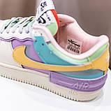 Nike Air Force 1 Shadow  Женские осенние бежевые кожаные кроссовки. Женские кроссовки на шнурках, фото 8
