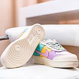 Nike Air Force 1 Shadow  Женские осенние бежевые кожаные кроссовки. Женские кроссовки на шнурках, фото 9
