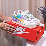 Nike Air Force 1 Shadow  Женские осенние бежевые кожаные кроссовки. Женские кроссовки на шнурках, фото 10